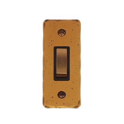 1 Gang Brass Modular Grid Switch Hammered Architrave Plate
