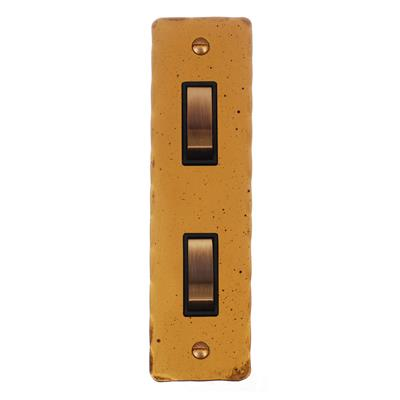 2 Gang Brass Modular Grid Switch Hammered Architrave Plate