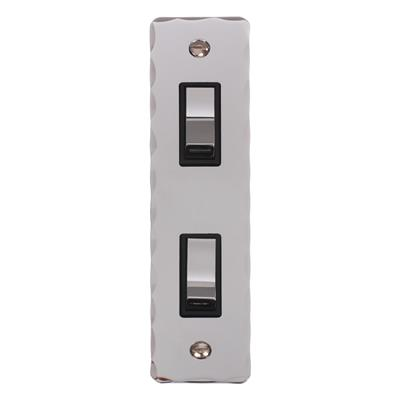 2 Gang Chrome Modular Grid Switch with Nickel Hammered Architrave Plate