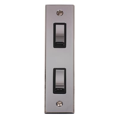 2 Gang Chrome Modular Grid Switch with Nickel Bevelled Architrave Plate