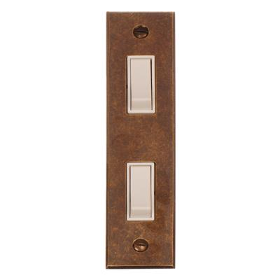 2 Gang White Modular Grid Switch with Bevelled Architrave Plate