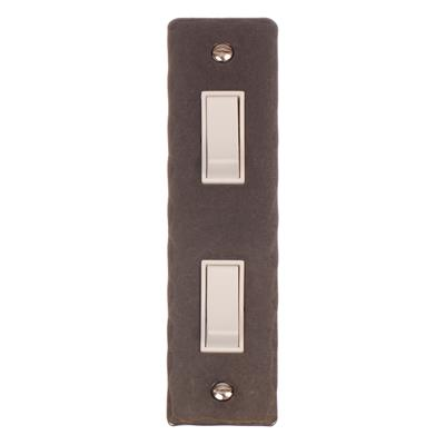 2 Gang White Modular Grid Switch Hammered Architrave Plate