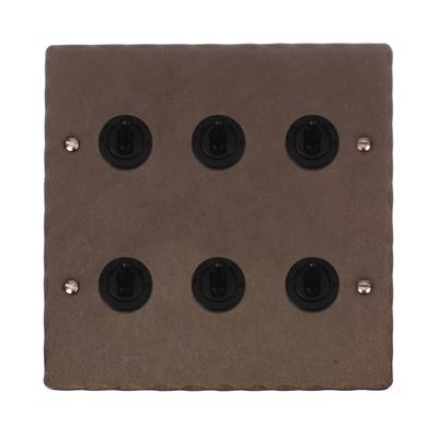 6 Gang Black Dolly Switch with Polished Hammered Plate