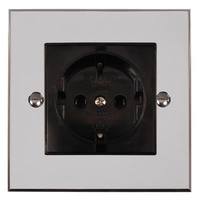 1 Gang Black German Schuko Socket Bevelled