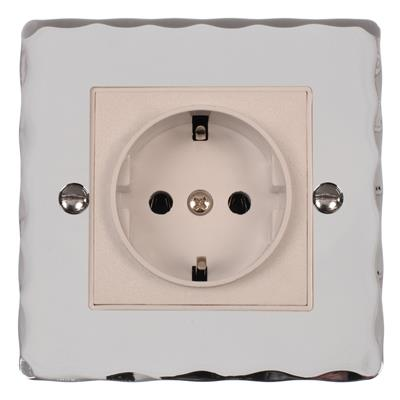 1 Gang White German Schuko Socket Bevelled
