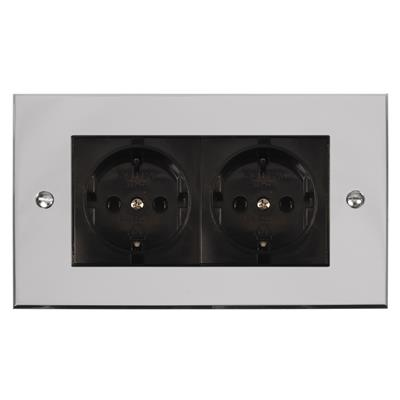 2 Gang Black German Schuko Socket Bevelled