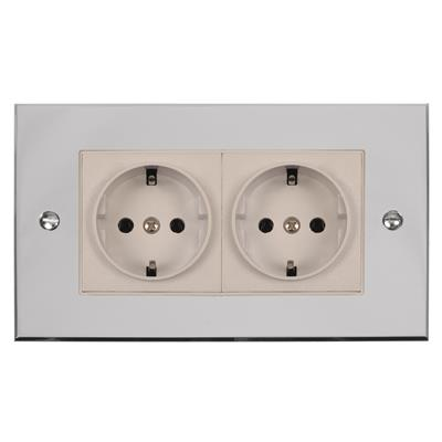 2 Gang White German Schuko Socket Bevelled