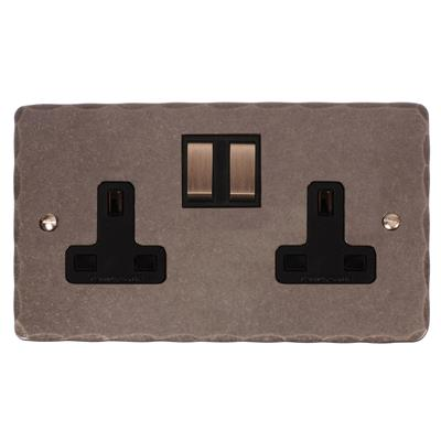 2 Gang Plug Socket with Steel Switches Hammered