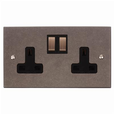 2 Gang Plug Socket with Steel Switches Bevelled