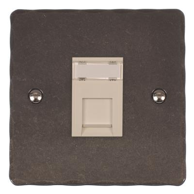1 Gang White RJ45 Socket Hammered