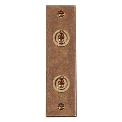 2 Gang Brass Dolly Switch Architrave Bevelled