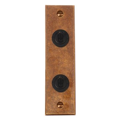 2 Gang Black Dolly Switch Architrave Bevelled