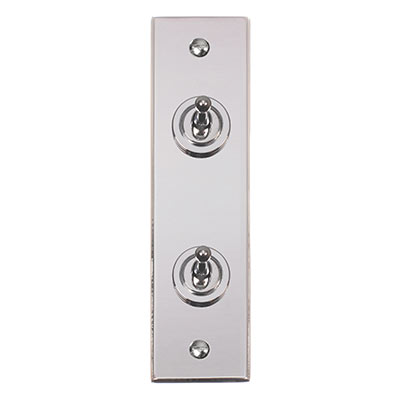 2 Gang Chrome Dolly Switch with Nickel Architrave Plate (Bevelled)