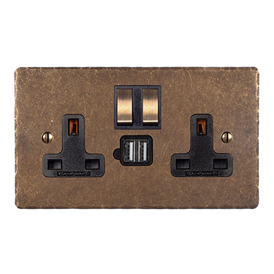 13amp 2 Gang Dual USB Port  Plug Socket, Brass Switch, Hammered Plate