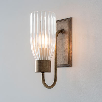 Single Morston Wall Light with Fluted Glass