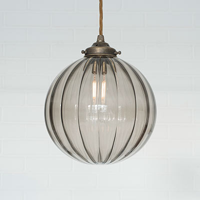 Fulbourn Charcoal Coloured Glass Pendant Light