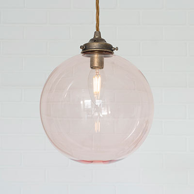 Holborn Dusky Pink Coloured Glass Pendant Light