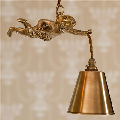 Cherub Pendant Light in Antiqued Brass