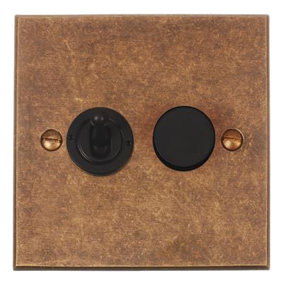 2 Gang Black Dolly/Rotary Dimmer Switch Bevelled