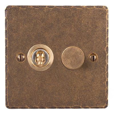 2 Gang Brass Dolly/Rotary Dimmer Switch Hammered