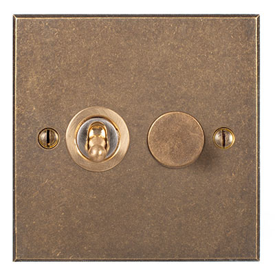 2 Gang Brass Dolly/Rotary Dimmer Switch Bevelled