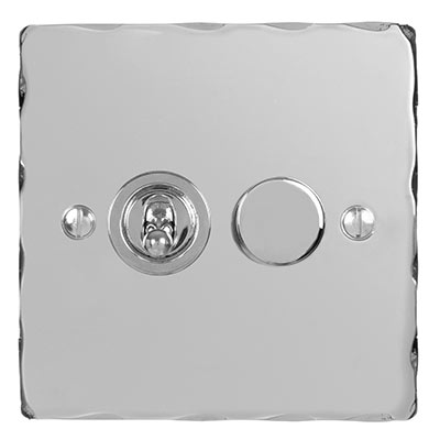 2 Gang Chrome Dolly/Rotary Dimmer Switch with Nickel Hammered Plate