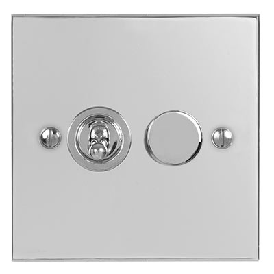 2 Gang Chrome Dolly/Rotary Dimmer Switch with Nickel Bevelled Plate
