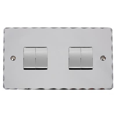 4 Gang Chrome Rocker Switch with Nickel Hammered Plate