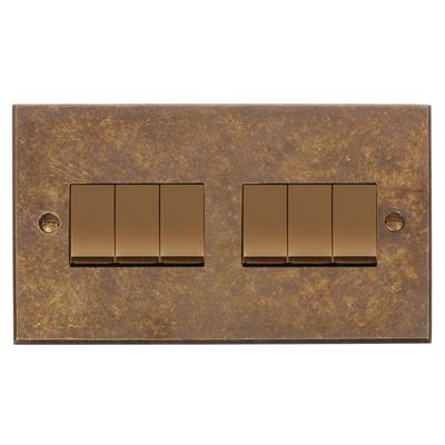 6 Gang Brass Rocker Switch with Antiqued Brass Bevelled Plate