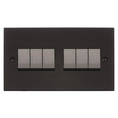 6 Gang Steel Rocker Switch with Beeswax Bevelled Plate