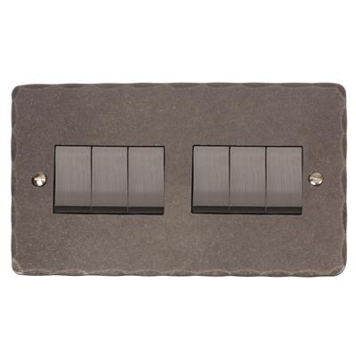 6 Gang Steel Rocker Switch with Polished Hammered Plate