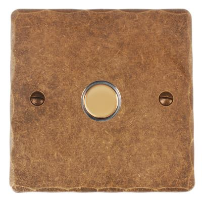 1 Gang Brass Touch Dimmer Hammered Plate