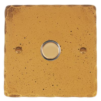 1 Gang Brass Slave Touch Dimmer with Old Gold Hammered Plate