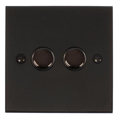 2 Gang Black Touch Dimmer Bevelled Plate
