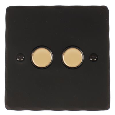 2 Gang Brass Touch Dimmer Hammered Plate