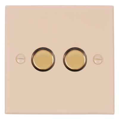 2 Gang Brass Touch Dimmer Bevelled Plate