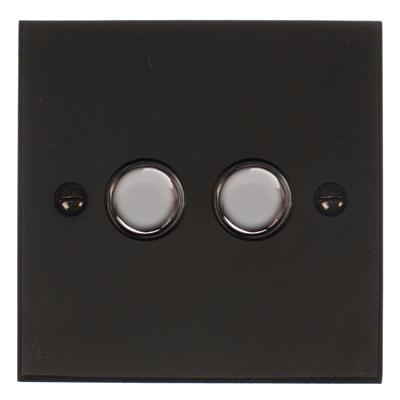 2 Gang Chrome Touch Dimmer Bevelled Plate