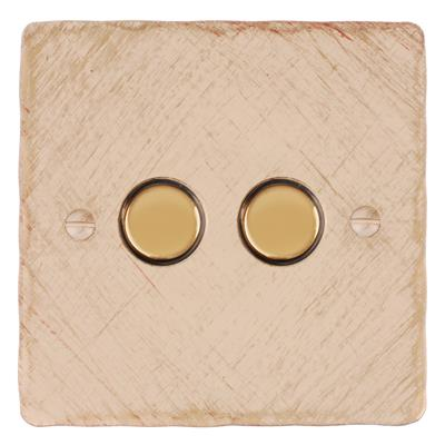 2 Gang Brass Slave Touch Dimmer with Old Ivory Hammered Plate