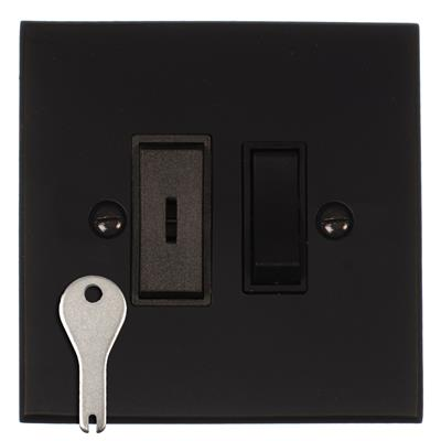 1 Gang Black Grid Key Switch Bevelled Plate