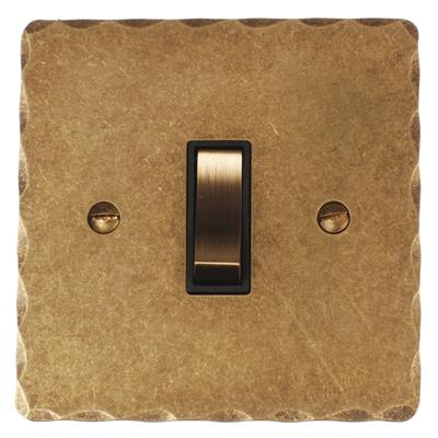 1 Gang Brass Retractive Grid Switch Hammered