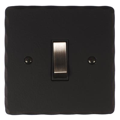 1 Gang Steel Retractive Grid Switch Hammered