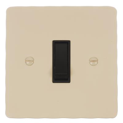 1 Gang Black Two Way & Off Switch with Plain Ivory Hammered Plate