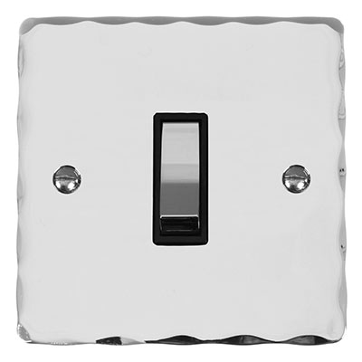 1 Gang Chrome Two Way & Off Switch with Nickel Hammered Plate