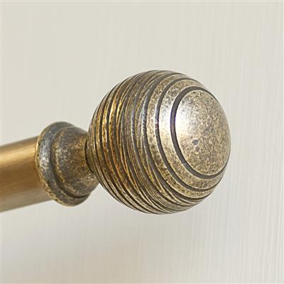 19mm Brass Reeded Ball Finial in Antiqued Brass