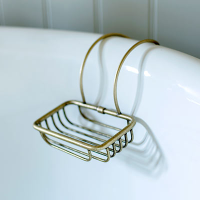 Bletchley Roll Top Soap Basket in Laquered Antiqued Brass