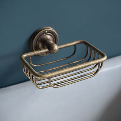 Bletchley Soap Basket in Laquered Antiqued Brass