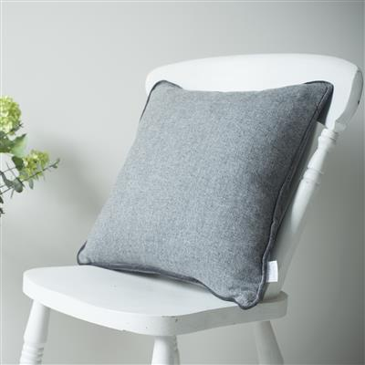 Herringbone Lovat Tweed Cushion Cover in Granite
