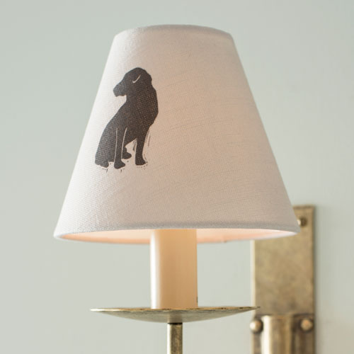 Candle Shade in Soft Grey Black Labrador