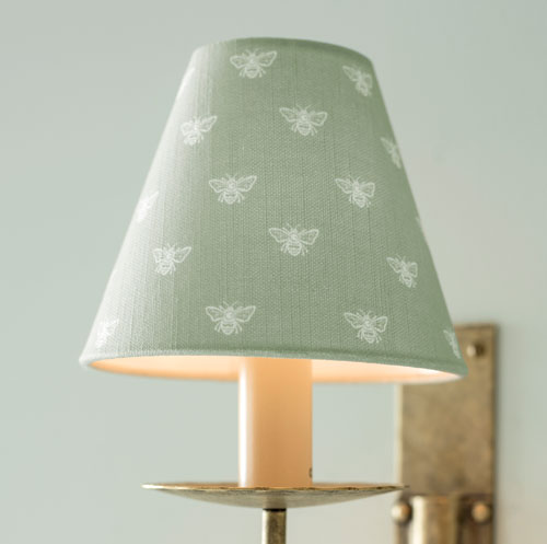Candle Shade in Country Green Honey Bees