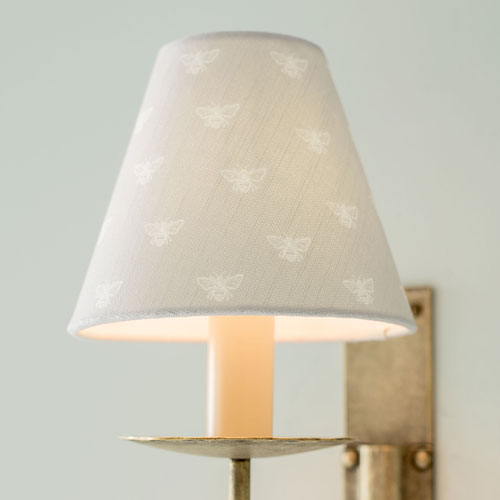 Candle Shade in Soft Grey Honey Bees